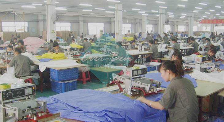 EVA poncho rain gear supplier welding workshop