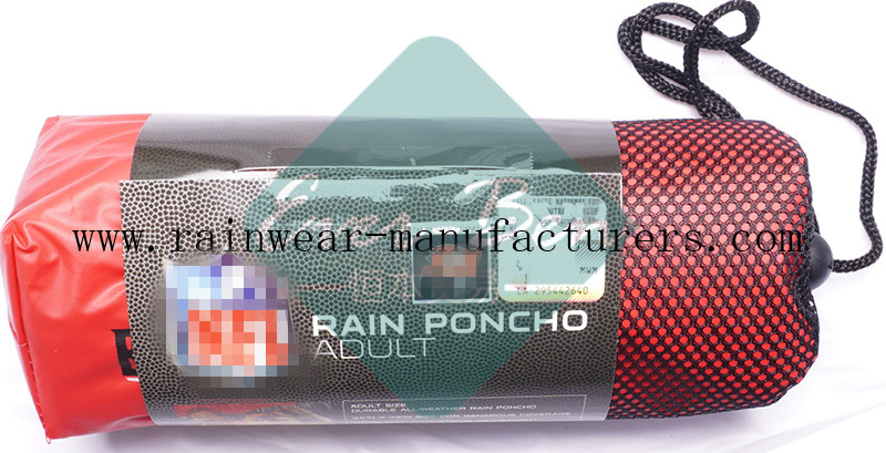 NFTB red EVA oversized rain poncho drawing cord pouch