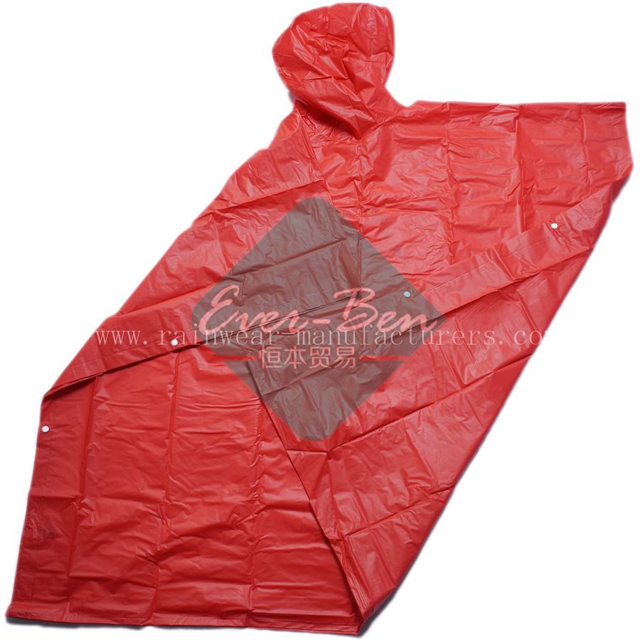 Red EVA Oversized Rain Poncho for sport games manufacturer
