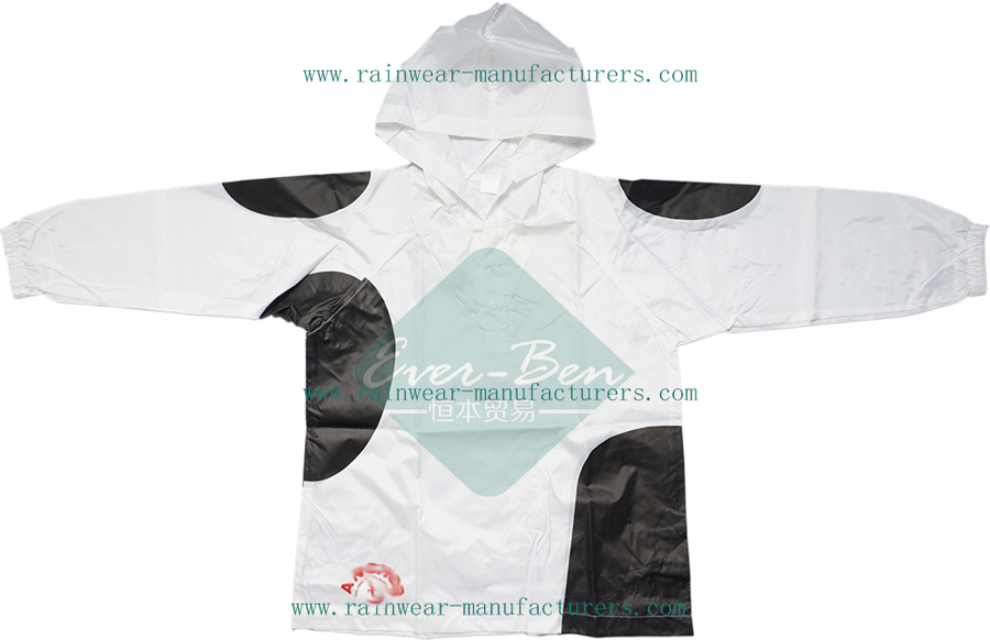 White nylon rain jacket with hood