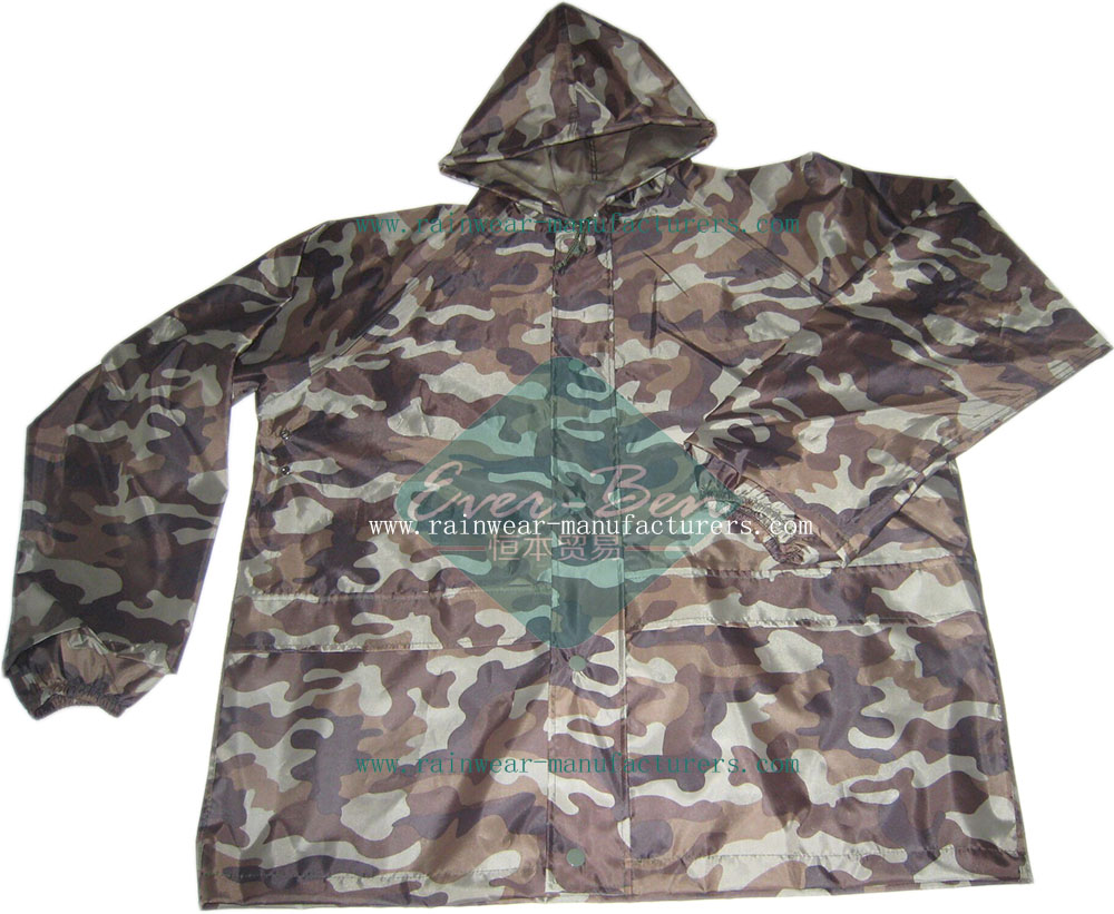 camo rain gear camouflage raincoat for men insulated rain gear china