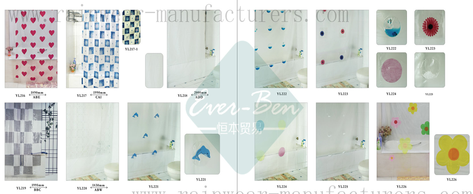 100-101 China vinyl shower curtains manufactory