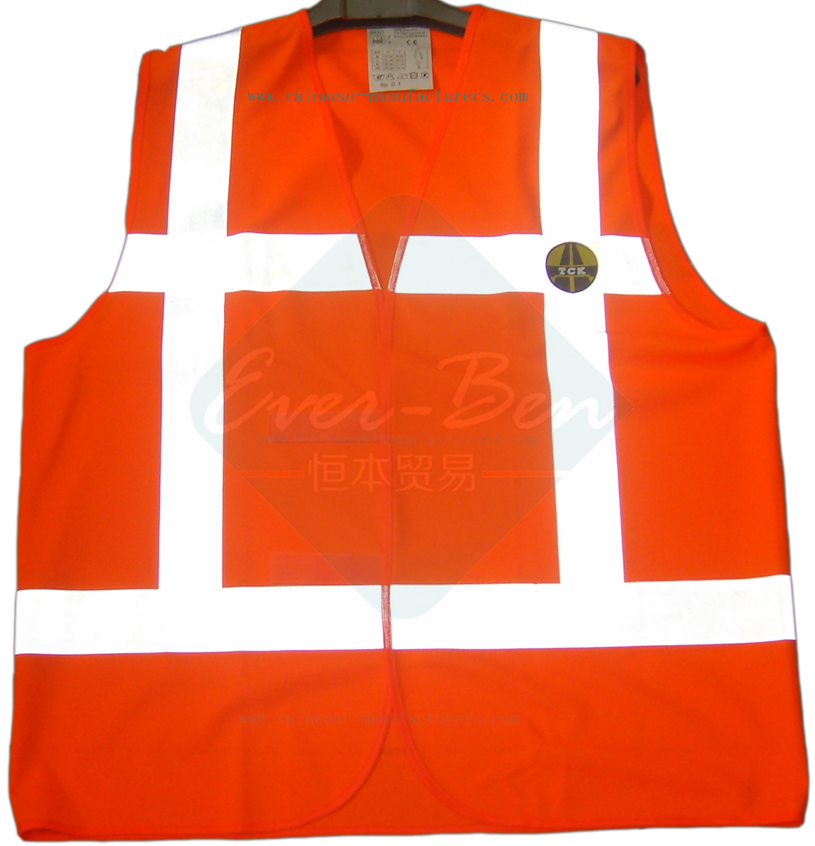 Reflective polyester safety vest