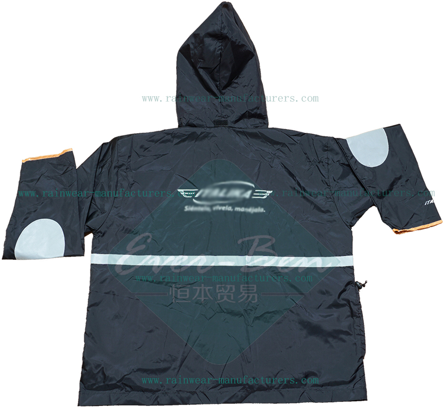 Black reflective rain jackets for men