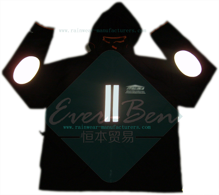 Black Waterproof Motorcycle Jacket with Reflective Tape