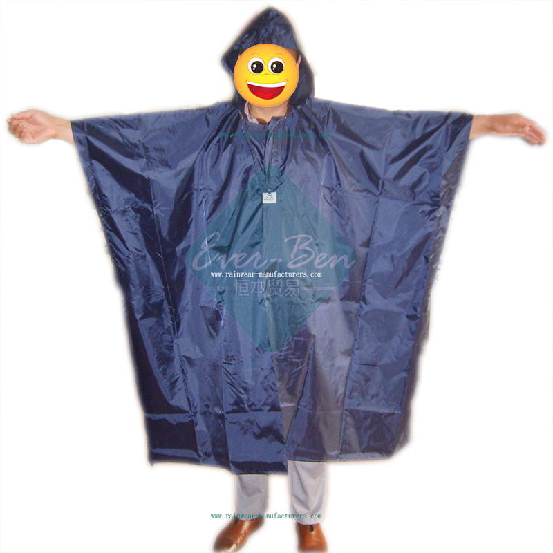 Blue waterproof poncho with hood for men-mens waterproof poncho-mens rain poncho