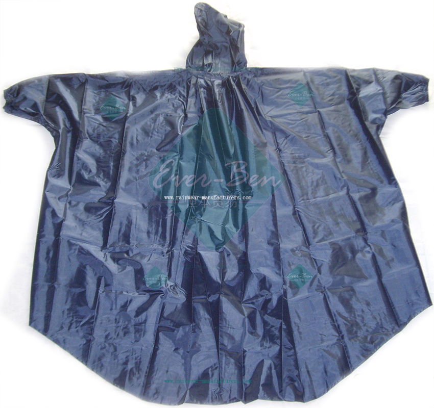 Blue waterproof poncho with sleeves-poncho rain jacket
