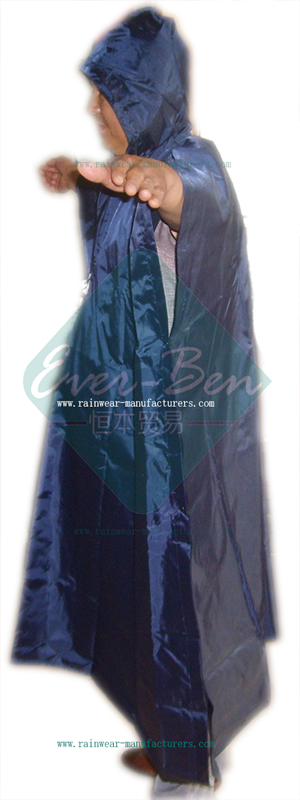 Heavy duty blue long rain poncho