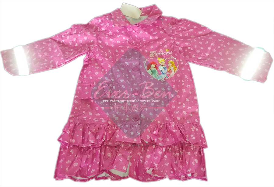 Kids Raincoats for Girls with Reflective Tape