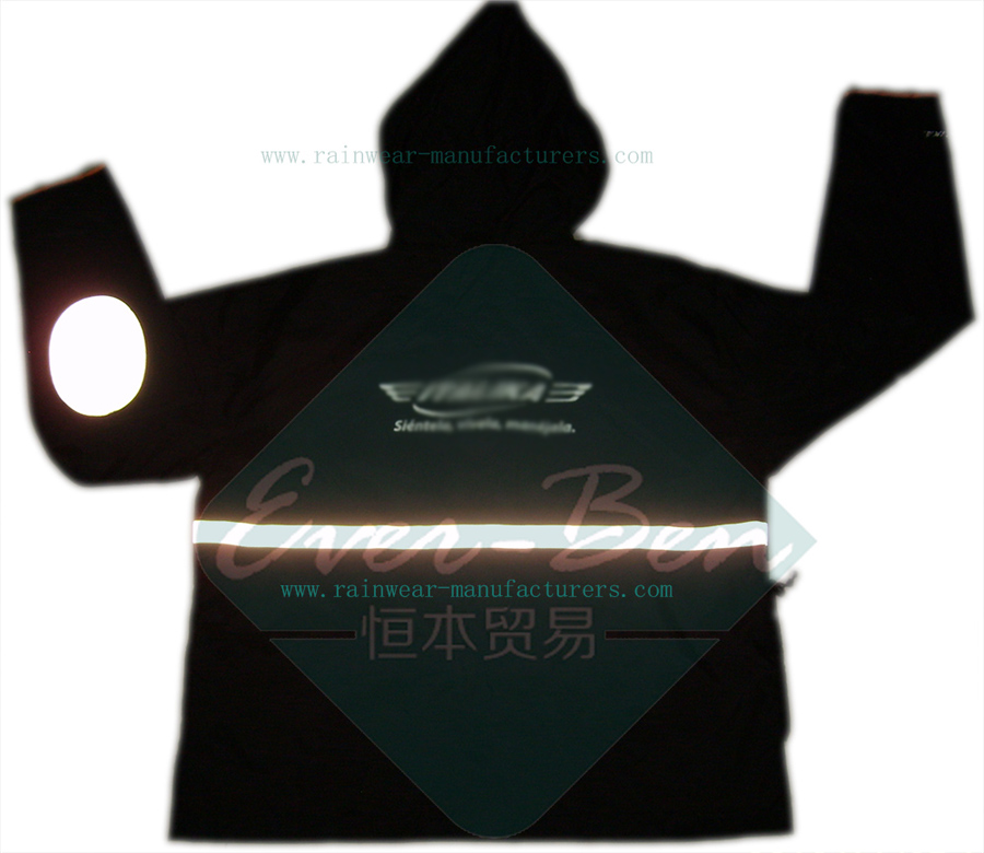 polyester raincoat-Reflective black biker jacket