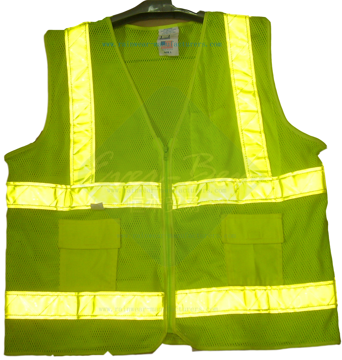 safety work vest with pockets-luminous cycling jacket supplier