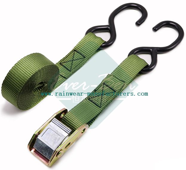 039 25mm cam buckle lashing strap with double hooks-commercial tie down straps