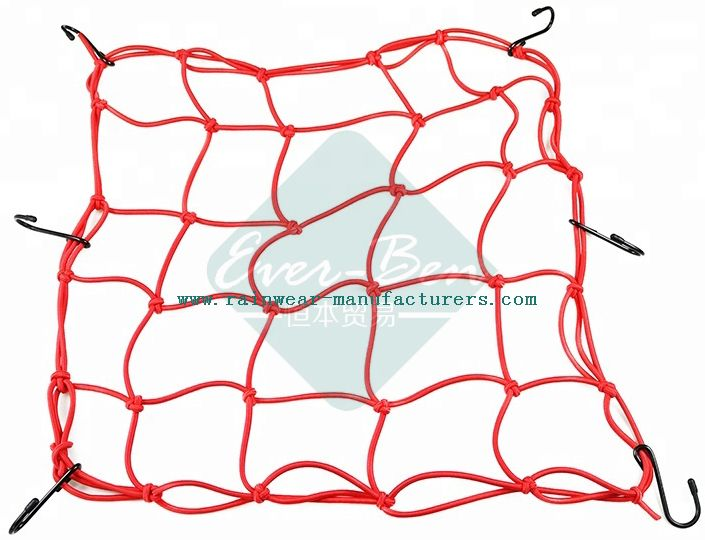 028 38cm x 38cm webbing bike rubber bungee cargo net with hooks